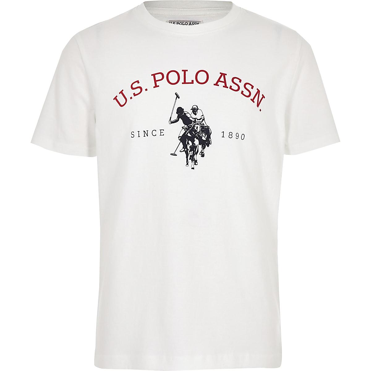 Boys white U.S. Polo Assn. logo T-shirt