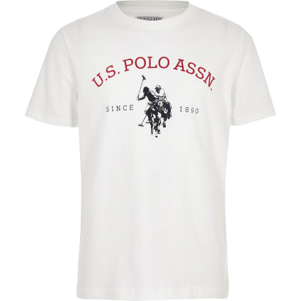 Boys white U.S. Polo Assn. logo T-shirt