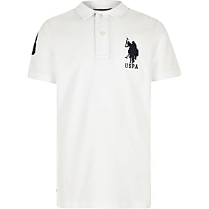 ee7f74ac8c Boys white U.S. Polo Assn. polo shirt
