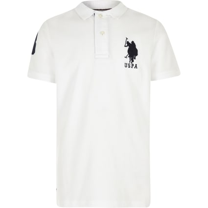 Boys white U.S. Polo Assn. polo shirt