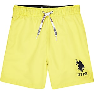 Boys yellow U.S. Polo Assn. swim trunks