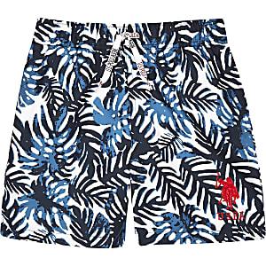 U.S. Polo Assn. - Marineblauwe zwemshort met palmboomprint voor jongens