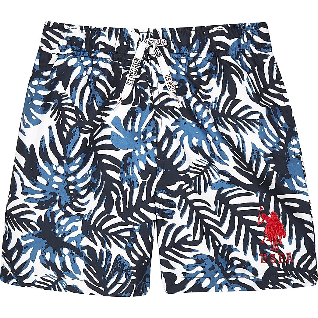 Boys navy U.S. Polo Assn. palm swim shorts