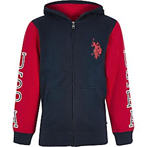 U.S. Polo Assn. – Sweat bleu marine zippé à capuche pour garçon