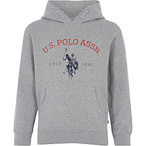 U.S. Polo Assn. – Grau melierter Hoodie