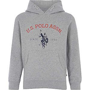 U.S. Polo Assn. - Grijs gemêleerde hoodie voor jongens
