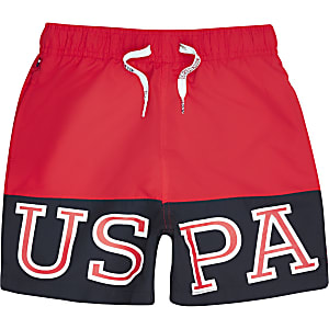 Boys red U.S. Polo Assn. contrast swim shorts