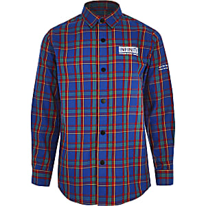 Boys blue 'Infinite' check shirt