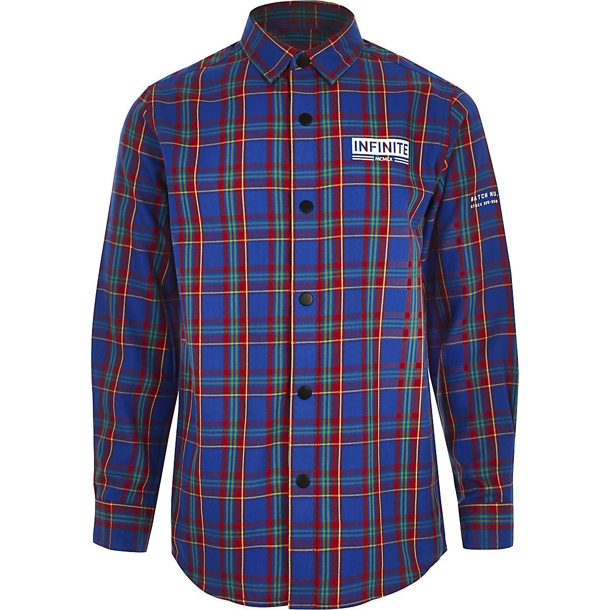 Boys blue 'Infinite' check shirt