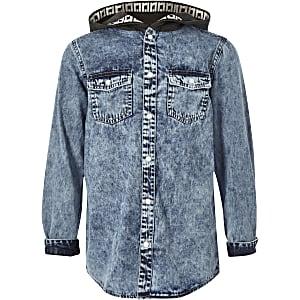 Blauw denim overhemd met capuchon voor jongens