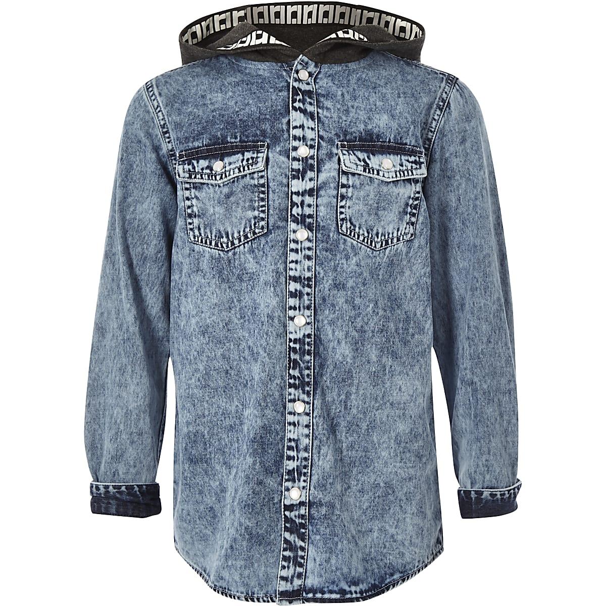 77e12a93d1e Boys blue hooded denim shirt - Long Sleeve Shirts - Shirts - boys