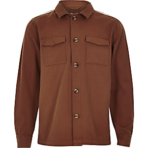 Boys rust tape long sleeve shacket