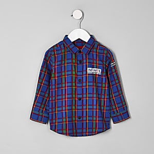 Mini boys blue 'infinite' check shirt