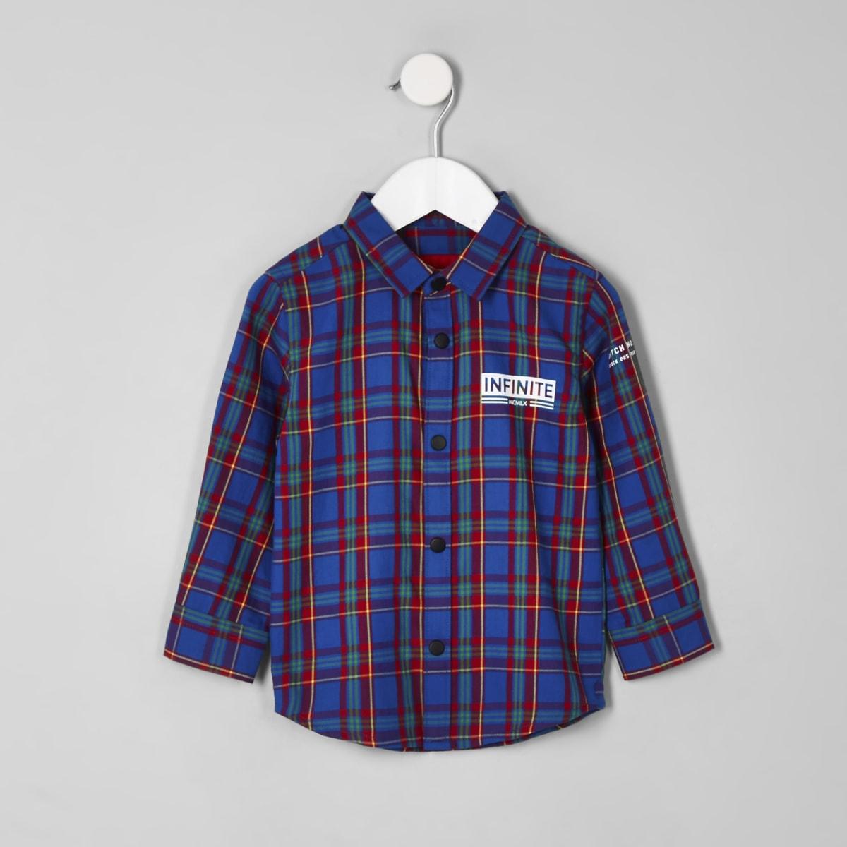Mini boys blue 'infinite' check shirt