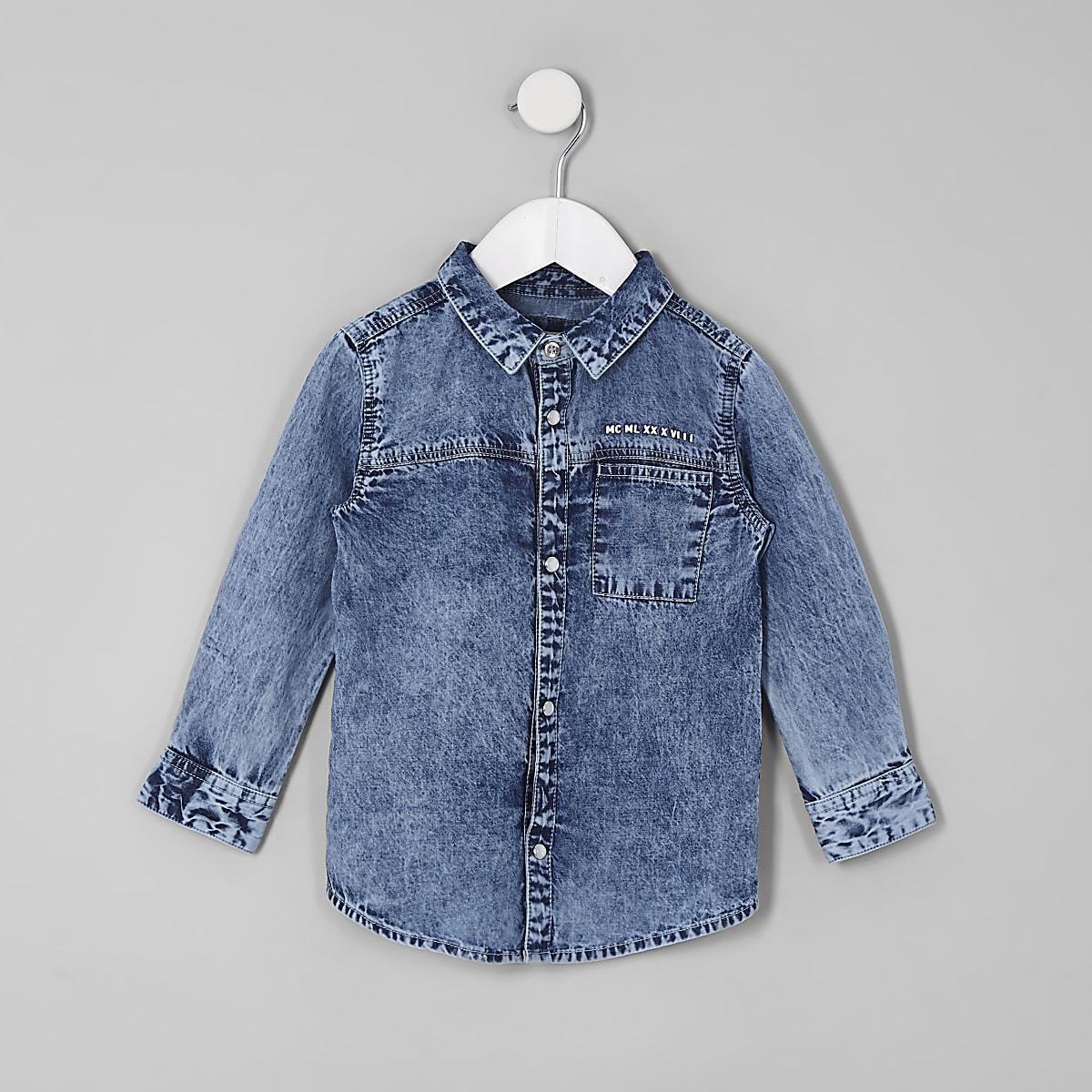 Mini boys blue acid denim shirt