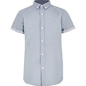 Chemise RI bleue à manches courtes pour garçon