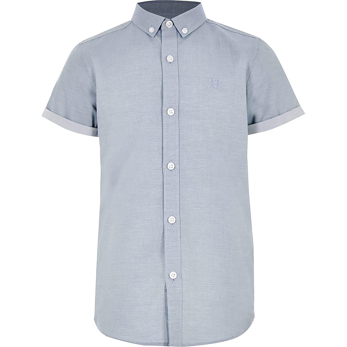 Blauw overhemd met RI-logo en korte mouwen voor jongens