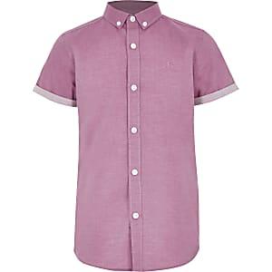 Roze overhemd met RI-logo en korte mouwen voor jongens