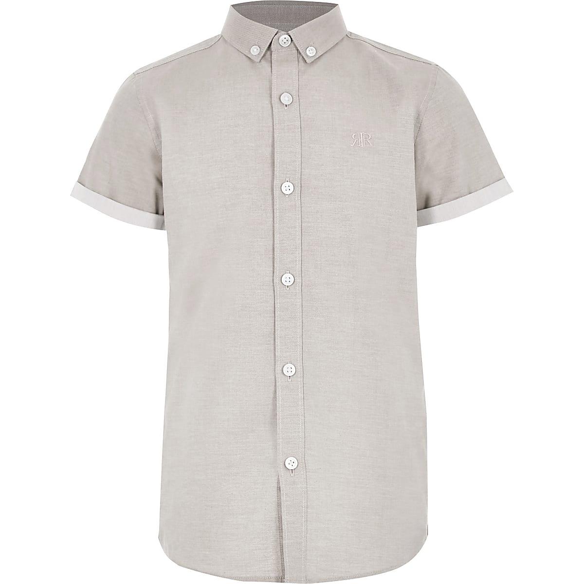 Kiezelkleurig overhemd met korte mouwen en RI-logo voor jongens
