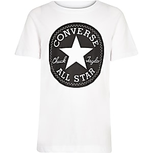 Converse – Weißes T-Shirt mit Logoprint