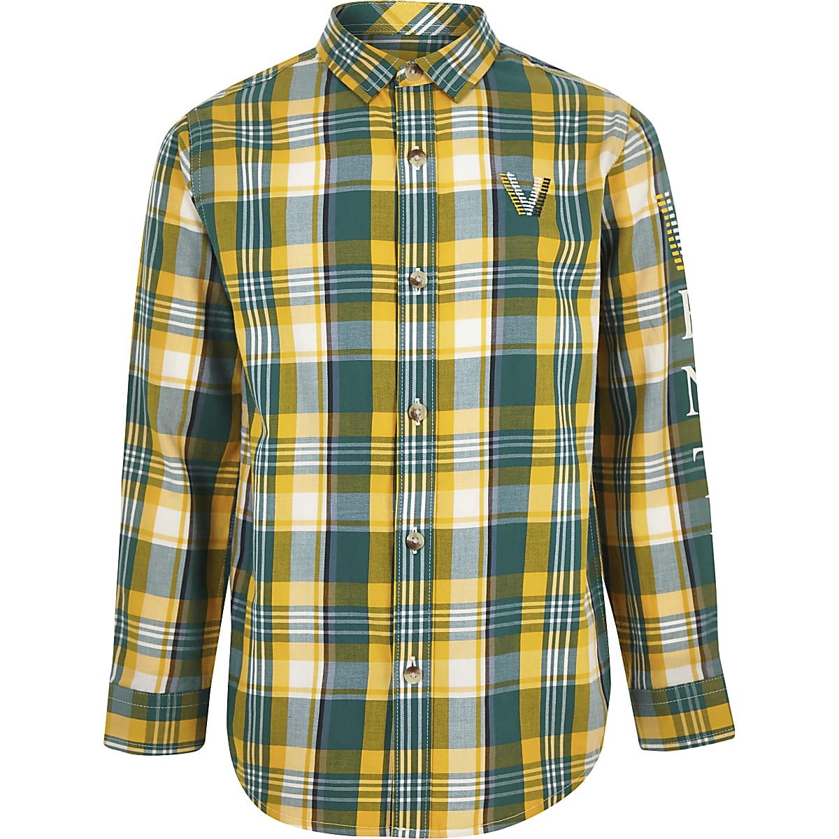 Boys green venti check shirt