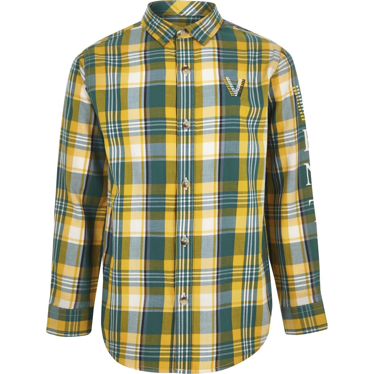 Boys green venti check shirt