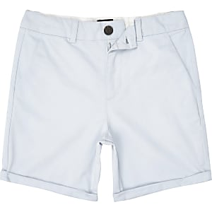 Boys blue slim smart chino shorts