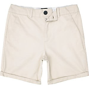 Steingraue, elegante Slim Fit Chinoshorts