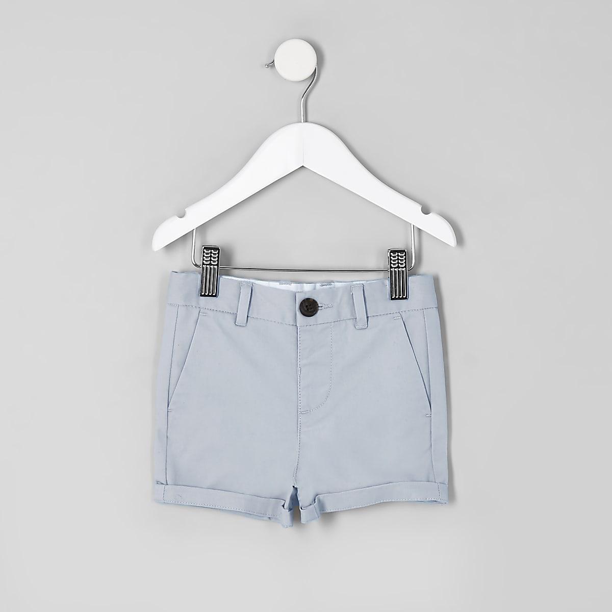 Mini boys blue slim smart chino shorts