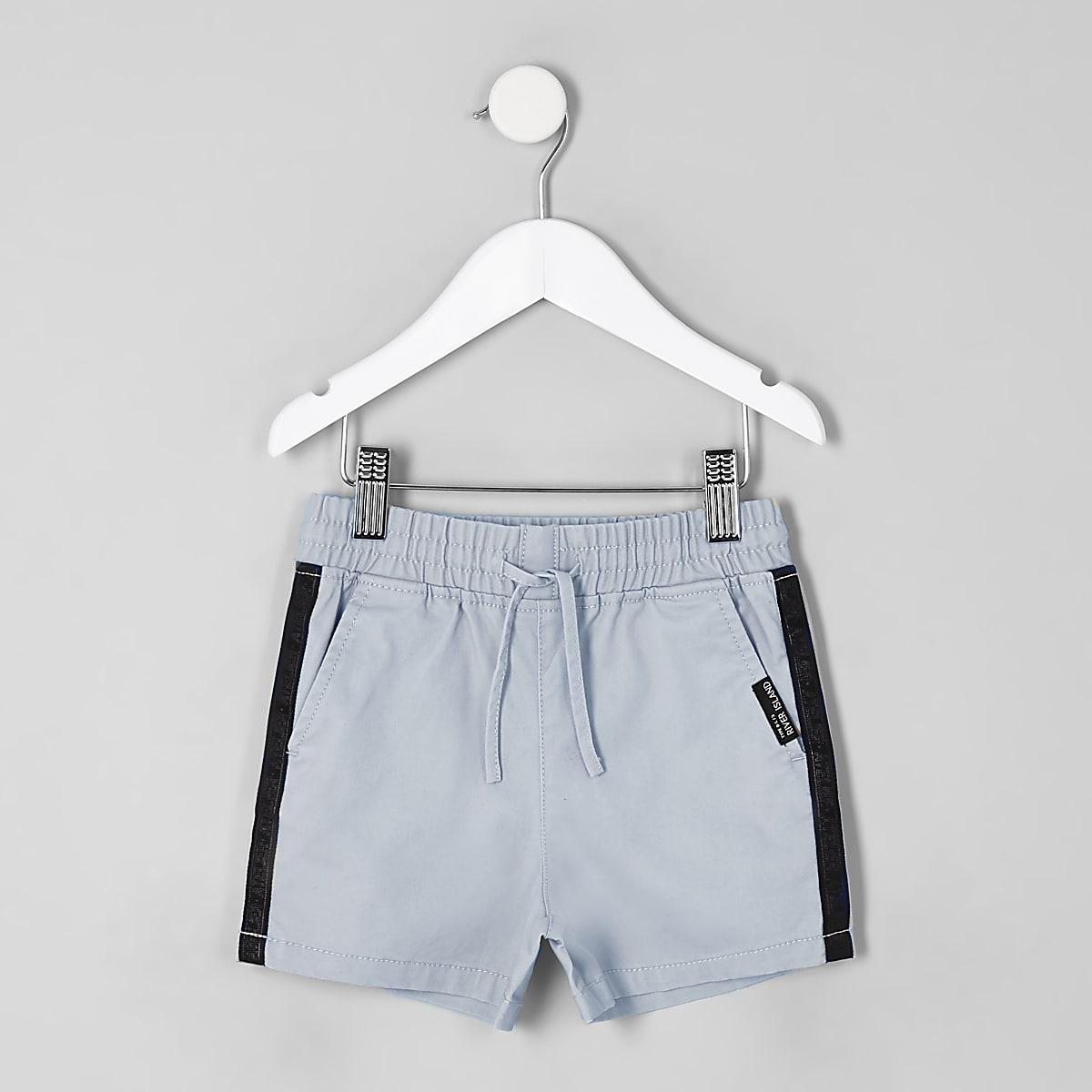 Mini boys blue tape straight shorts