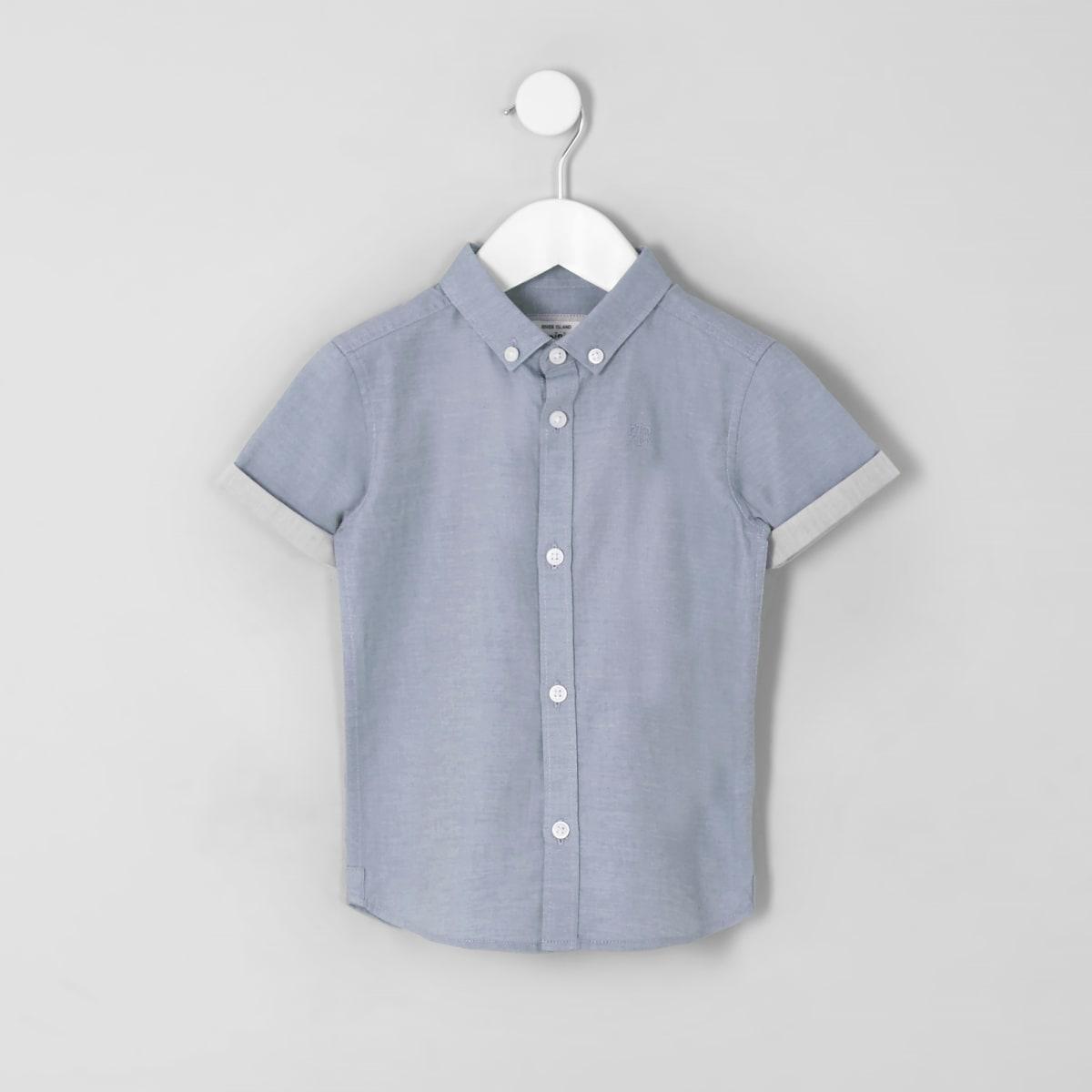 Mini - Blauw overhemd met RI-logo en korte mouwen voor jongens