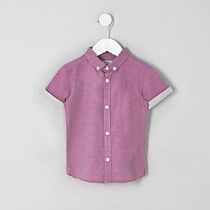 Mini - Roze overhemd met RI-logo en korte mouwen voor jongens
