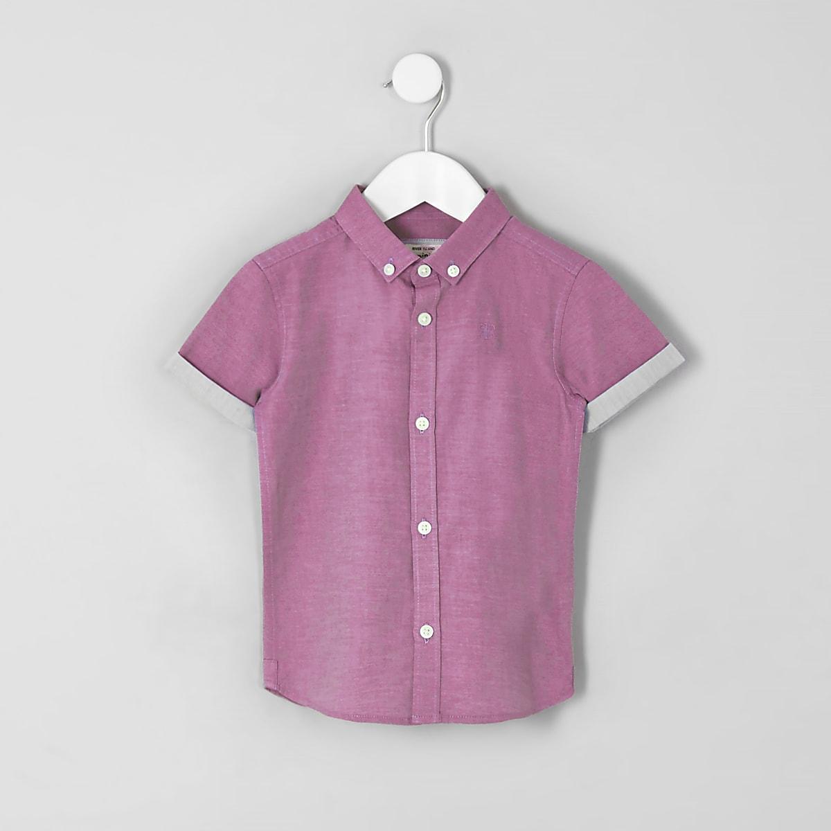 Chemise RI rose à manches courtes mini garçon
