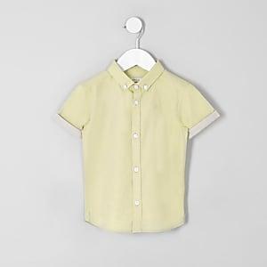 Mini - Geel RI overhemd met korte mouwen voor jongens