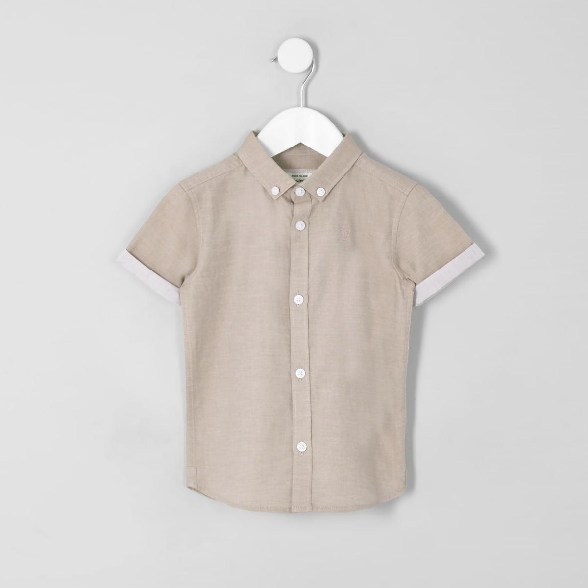 Mini - Lichtroze overhemd met RI-logo en korte mouwen voor jongens