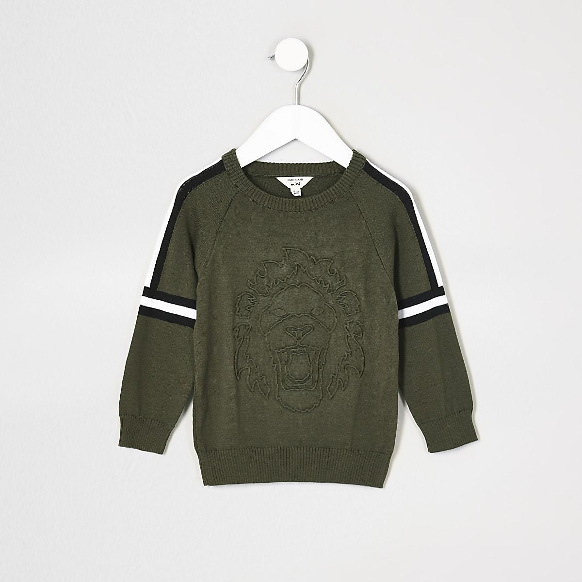 Mini boys khaki embossed jumper