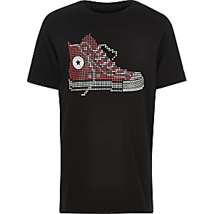 Boys Converse black pixel print T-shirt