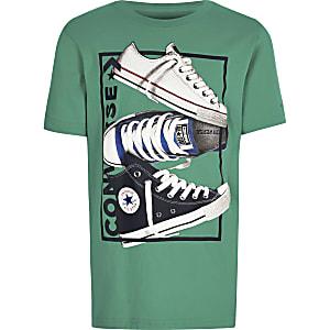 Converse – T-shirt imprimé vert pour garçon