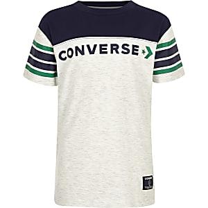 Converse – T-shirt colour block blanc pour garçon