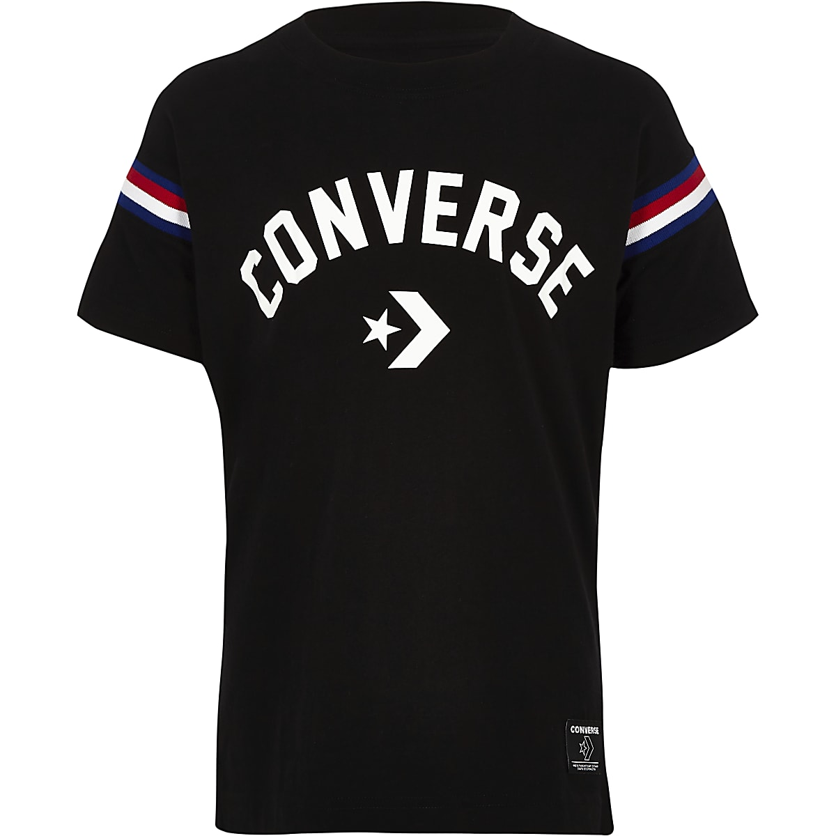 Boys black Converse logo split hem T-shirt