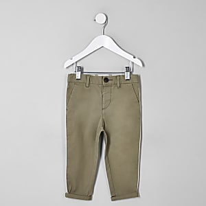 Mini boys green slim fit pipe smart trousers