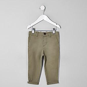 Mini boys green slim fit pipe smart pants