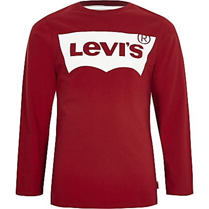 Boys Levi's red long sleeve T-shirt