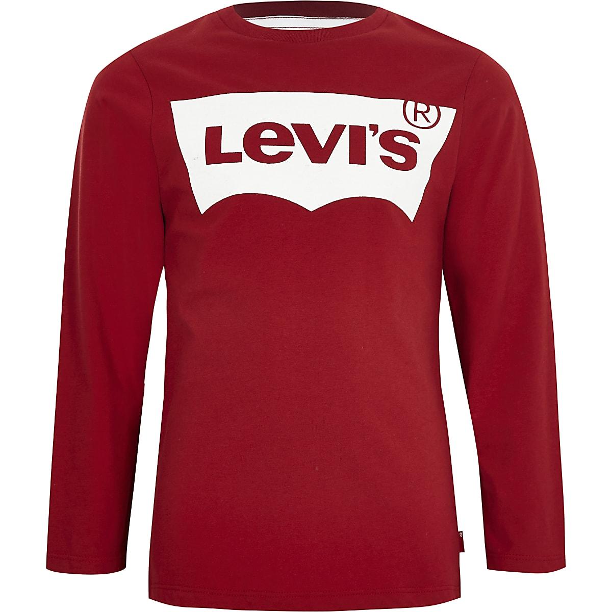 en soldes 7b7ef e6991 Boys Levi's red long sleeve T-shirt