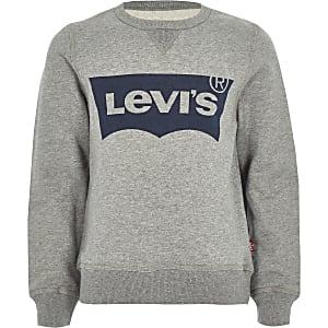 Levi's – Pull ras-du-cou gris à logo pour garçon