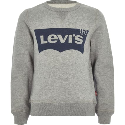 Boys Levi's grey crew neck logo jumper
