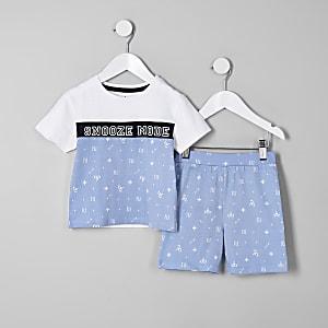 Mini - Blauwe pyjamaset met 'Snooze mode'-print voor jongens