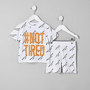 Mini - Witte pyjamaset met 'Not tired'-print voor jongens