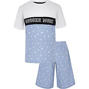 Blauwe pyjamaset met 'Snooze mode'-print voor jongens