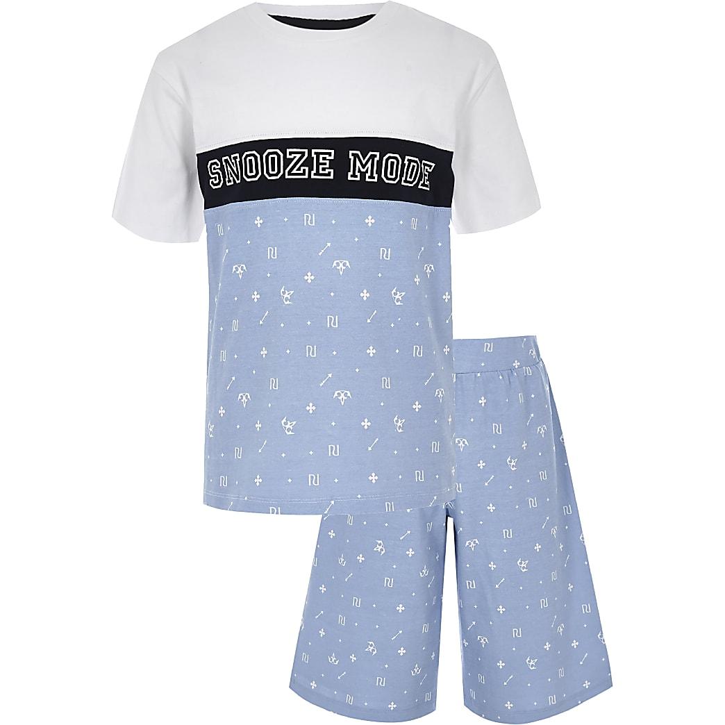 Boys blue 'Snooze mode' pyjama set